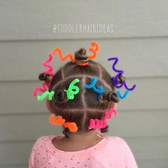As a kid, wacky hair day was always my favorite day of the school year! Viv's BFF had wacky hair day and her mom asked me for some help, this is what we came up with! Mini twisty buns with pipe cleaners, then I sprinkled it with glitter. This was inspired by a style done by @cutegirlshairstyles on a super young @brooklynandbailey - speaking of CGH, I totally had a dream last night that I was hanging out with all of them and we were all BFFs...what am I, 13?!?
