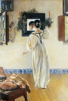 उनके दामन की खुशबू हवाओं मे है उनके कदमों की आहट फिज़ाओ मे है मुझकों करने दे , करने दे सोलह श्रृंगार  कोई आता है ...                            ....कैफ़ी आज़मी  'A Knock at the Door', 1897 Painting by  Laura Theresa Alma-Tadema,  British, 1852 - 1909