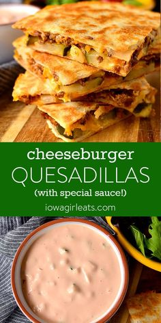 Cheeseburger Quesadillas with Special Sauce - Iowa Girl Eats - - Cheeseburger Quesadillas are quick, fun, and finger lickin' good! This easy dinner recipe goes from fridge to table in under 30 minutes. Quesadillas, Quesadilla Sauce, Ground Beef Recipes, Mexican Food Recipes, Good Easy Dinner Recipes, Best Dinner Recipes Ever, Lunch Recipes, Dessert Recipes, Healthy Recipes