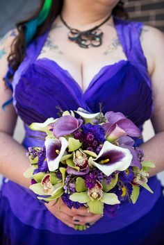 Vibrant Calla Lily & Orchid wedding bouquet.