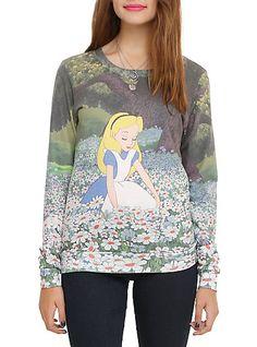 Disney Alice In Wonderland Daisies Girls Pullover TopDisney Alice In Wonderland Daisies Girls Pullover Top,