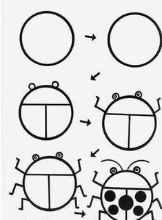How to Draw a Ladybug Easy Drawings For Kids, Drawing For Kids, Art For Kids, Doodle Drawings, Animal Drawings, Doodle Art, Drawing Lessons, Art Lessons, Desenho Kids