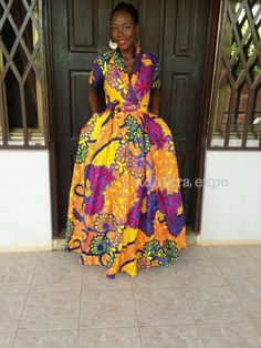 Wrap dress/ African Print Dress/ Prom Dress/ by AdinkraExpo