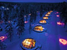 The Hotel Kakslauttanen in Finland is in fact an Igloo Village, at which you can have your pick of 20 unique glass and snow igloos for your stay. They aren't ice houses, but 31 well-maintained log cabins – built from a very special thermo glass that keeps them warmth and comfortable. Because of that, the temperature inside the Igloos is always a normal room temperature and the igloos inhabitants won't feel any of the polar cold.
