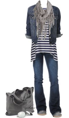 nice and comfortable. Blue, grey, stripes, jeans. Big bag