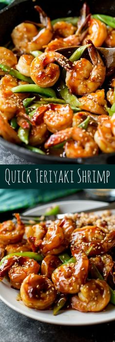 Minute Teriyaki Shrimp Easy, healthy, and on the table in about 30 minutes! Quick homemade teriyaki shrimp recipe on Easy, healthy, and on the table in about 30 minutes! Quick homemade teriyaki shrimp recipe on Camarones Teriyaki, Teriyaki Shrimp, Asian Shrimp, Teriyaki Sauce, Fish Recipes, Asian Recipes, Healthy Recipes, Chinese Shrimp Recipes, Healthy 30 Minute Meals