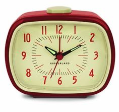 Retro Alarm Clock For Bedside Table Red Kikkerland Battery Operated