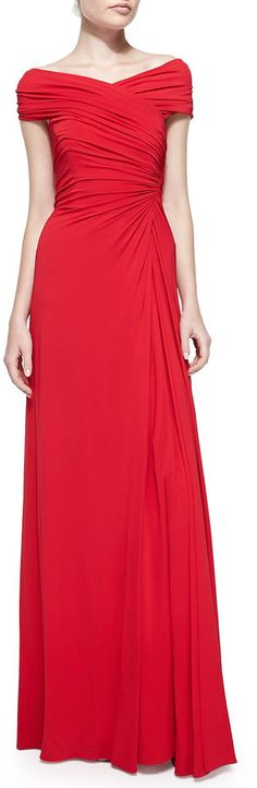 $1,780, Red Evening Dress: Melinda Eng Ruched Off The Shoulder Jersey Gown. Sold by Neiman Marcus.