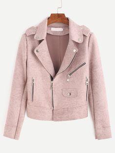 Veste en suédine zippé avec épaulettes -rose-French SheIn(Sheinside)