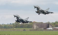 Typhoons set off from RAF Coninsby, Lincolnshire and will spent up to four months based at Mihail Kogalniceanu airbase in south east Romania. Russian Bombers, Supersonic Speed, Russian Plane, Bomber Plane, Speed Of Sound, In Sync, North Sea, European Countries, Black Sea