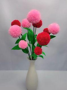Diy Yarn Flowers, Diy Lace Ribbon Flowers, Paper Flowers Craft, Paper Crafts Origami, Flower Crafts, Diy Crafts For Gifts, Diy Arts And Crafts, Yarn Crafts, Decoration