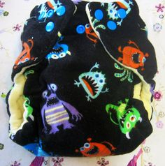 Ready to Ship Monsters AIO One Size Cloth  Diaper by Los Chiquitos by loschiquitos on Etsy