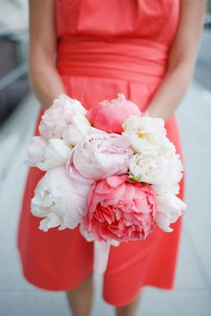 omg love the peonies! (I'm starting to think that unni's bouquet shouldn't all be peonies. Coral Bridesmaid Dresses, Wedding Bridesmaids, Wedding Bouquets, Wedding Flowers, Coral Dress, Bridesmaid Flowers, Wedding Mandap, Wedding Colors, Wedding Receptions