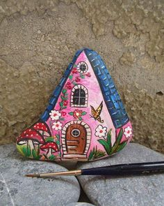 "Danijela Milosevic on Instagram: ""New #rockpainting #stonepainting #rockart #stones #fantasypaintings #fairyhouses #acrylicpainting #acrylicart"""