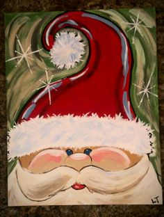 15 easy canvas painting ideas for christmas santa face for Easy christmas paintings on canvas