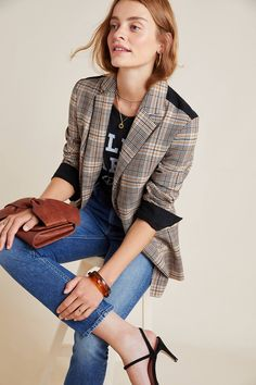 Ella Moss Poirot Plaid Blazer by in Assorted Size: Xs, Women's Jackets at Anthropologie Casual Blazer, Blazer Outfits, Plaid Blazer, Blazer Fashion, Sporty Fashion, Plaid Jacket, Winter Outfits, Casual Outfits, Blazer Pattern
