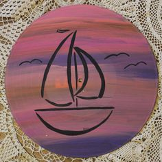 Set Sail with this Painted Record featuring a Sailboat design. Painted on a 12 Record.