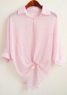 Pink Lapel Plaid Loose Chiffon Blouse 14.33