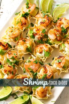 These shrimp taco bites with cilantro cream sauce are the perfect appetizer for when you don't have a lot of time. They take less than 15 minutes! You'll love the flavor of these tasty little bites!#shrimptacos #appetizer #newyears #superbowlfood #superbowl #Mexicanfood #shrimp #FavoriteFamilyRecipes #favfamilyrecipes #FavoriteRecipes #FamilyRecipes #recipes #recipe #food #cooking #HomeMade #RecipeIdeas Seafood Appetizers, Seafood Dishes, Yummy Appetizers, Appetizers For Party, Mexican Food Appetizers, Appetizers Superbowl, One Bite Appetizers, Simple Appetizers, Best Appetizer Recipes