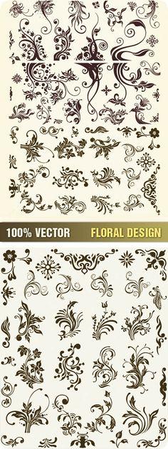 Floral Ornament Elements Vector