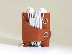 Brown Leather Smiling Earphone Case The Case with a by aspiecraft