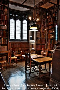 """Reading Room, John Rylands Library.   2008 © Gary995 (photographer) via flickr.  """"...a late-Victorian neo-Gothic building on Deansgate in Manchester, England.""""  More info: http://en.wikipedia.org/wiki/John_Rylands_Library The LAW requires you to credit the copyright holder/s. COPYRIGHT LAW: http://pinterest.com/pin/86975836525792650/  HOW TO FIND the ORIGINAL WEB SITE of an image: http://pinterest.com/pin/86975836525507659/ The Golden Rule: http://pinterest.com/pin/86975836525355452/"""