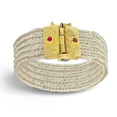 Ruby & Sapphire Ancient Weave Bracelet - Nancy Troske Jewelry | Goldsmith