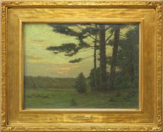"""Charles Warren Eaton (1857-1937) - Twilight. Oil on Canvas in Gilt Wood Frame. Circa 1929. Painting: 11-1/2"""" x 15-1/2"""" & Framed: 17-5/8"""" x 21-5/8""""."""