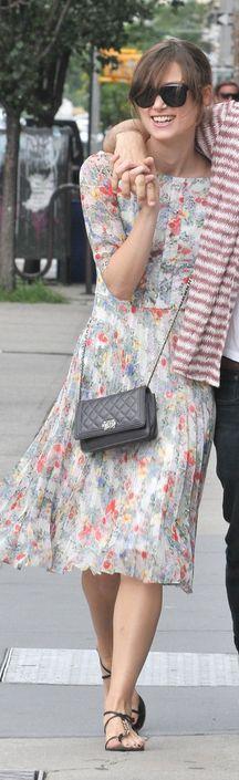 Keira Knightley: Dress - Erdem Purse - Chanel same pattern different dress Erdem Eliza Floral-Print Dress
