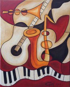 Coole abstracte muziekinstrumenten gemaakt met olieverf op canvas. Te koop op koopkunst.com. Afmetingen 80x100cm