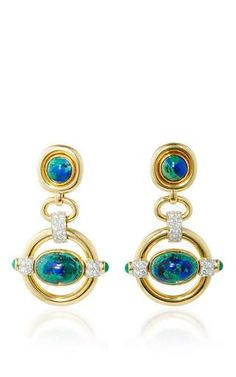 Cabachon azurite, emerald, and diamond earrings by DAVID WEBB for Preorder on Moda Operandi
