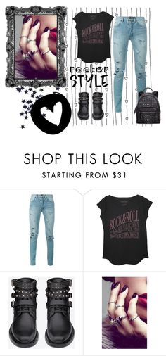 """""""Polyvore Contest: I'm a RockStar! #rockerstyle #rockerchic"""" by ether3al ❤ liked on Polyvore featuring Yves Saint Laurent, The Vintees T-Shirts Co., Rock 'N Rose, MCM, rockerchic, RockStar, polyvorecontest and rockerstyle"""