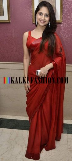http://www.kalkifashion.com/ A celebrity guest in lovely red saree at Ravi Dubey and Sargun Mehta's reception bash.