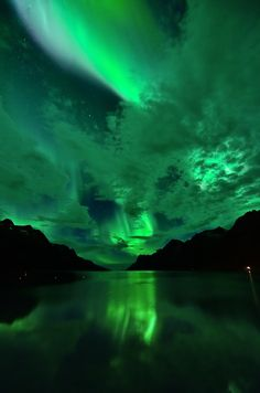 lifeisverybeautiful: Aurora reflections in Ersfjordbotn (by John A.Hemmingsen)