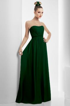 Long, hunter green bridesmaid dress by Bari Jay.