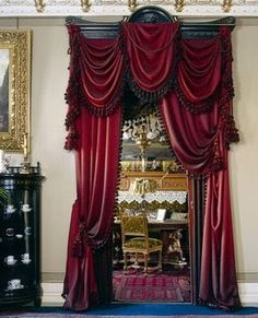 Originally from Victorian style in English houses you can discover large ( for example velvet) curtains hanging from the ceiling to the floor on a windows or on a door as decoration. It deferentially gives a house expensive look. Victorian Interiors, Victorian Furniture, Victorian Decor, Victorian Homes, Victorian Curtains, Victorian Windows, Victorian Window Treatments, Hanging Curtains, Drapes Curtains