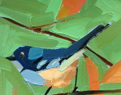 Bluebird no 94 6 x 6 x 1/2 po (15 x 15 cm) Peinture à lhuile sur panneau de contreplaqué de bouleau apprêt darchives. Côtés du Vietnam. Encoche à larrière pour accrocher. Signé par lartiste. Copyright : Angela Moulton © Peinture sera prête à être expédié le 7 octobre.