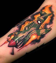 new school tattoo fighter plane