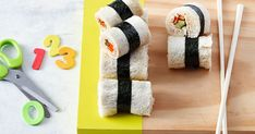 The kids will love these sushi-style sandwiches filled with canned tuna, mayonnaise, carrots and cucumber.