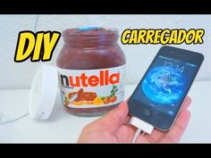 DIY: NUTELLA/ CARREGADOR DE CELULAR Nutella, Phone Charger, Bottle, Charger, Diy, Diet, Flask