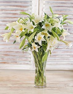 Elegant White Lilies in a Vase Easter Flowers, All Flowers, Wedding Flowers, Lily Centerpieces, Centrepieces, Vases, Condolence Flowers, Christian Christmas Gift, Online Florist