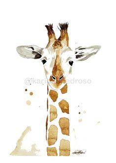 Girafa em Aquarela Shop, Painting, Animals, Home Decor, Watercolor Animals, Saint George, Giraffe Illustration, Drawings, Watercolor Drawing