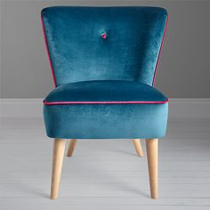 How cute is this Teal velvet chair? Think I may need one for my sewing room. John Lewis Audrey Cocktail Chair