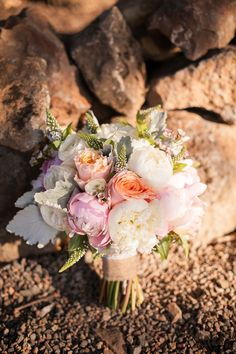Rose and Peony Bouquet | See the wedding on SMP: http://www.StyleMePretty.com/california-weddings/2014/03/06/romantic-sonoma-valley-wedding/ Photography: Jessamyn Harris