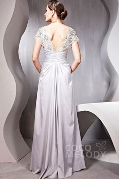Grand Sheath-Column Square Floor Length Evening Dress with Pleating and Beading #COSF1403A #cocomelody #bridesmaiddress