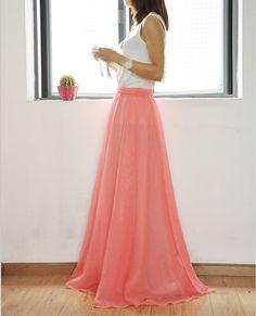 High Waist Maxi Skirt Chiffon Silk Skirts Beautiful Bow Tie ...
