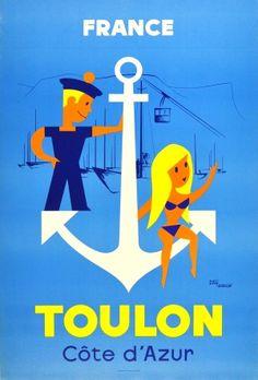 Toulon France Cote d'Azur, 1950s - original vintage poster by Totsy Garcin listed on AntikBar.co.uk