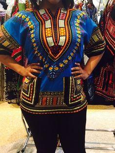 2539ac55710 AFRICAN Blue Shirt DASHIKI PRINT Men Women tribal ETHNIC caftan UNISEX  hippie  Handmade  african