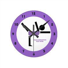 Gymnastics gifts, gymnastics performer custom lavender purple wall clock #gymnastics, #wallclock, #gymnasticsgifts, #lavender, #purple