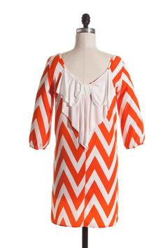 Orange and White Bow Back Chevron Dress Clemson Auburn Tennessee Florida $30 Shipped find us on facebook @Tiffany Crosby